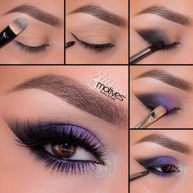 Макияж пошагово фиолетовыми